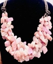 Pink Rose Quartz Bib Collar Statement Necklace - $178.20