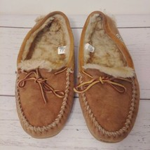 LL BEAN Wicked Good Moccasin Slippers Suede Leather Shearling Sheepskin ... - $35.69