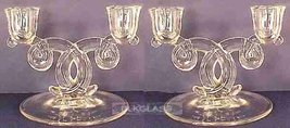 Heisey Glass Lariat Double Two Light Candlestick Pair - $49.50