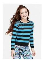 NWT Justice Girls Size 6/7 Stripe Sequin Shoulder Hi Low Hem Sweatshirt Top - $13.81