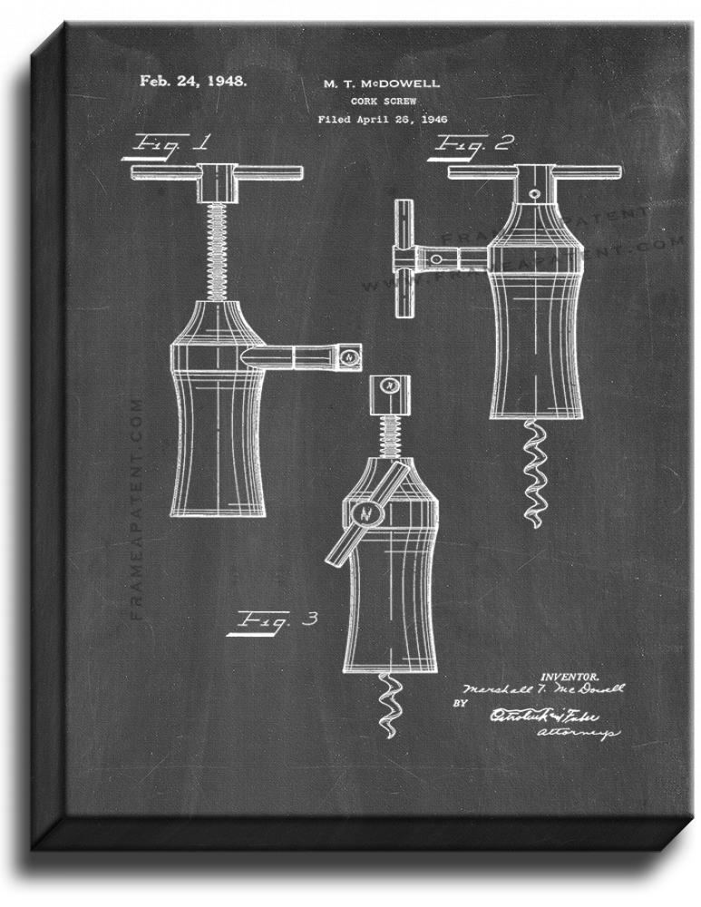 Primary image for Corkscrew Patent Print Chalkboard on Canvas