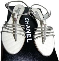 Chanel Flat Leather Thong Sandal Cc Logo Crystals Pearls Sandal Shoe 36- 6 - $483.00