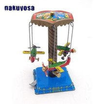Three Small Rotating Aircraft Antique Reminiscence Metal Wind Up Toy...  - $21.48