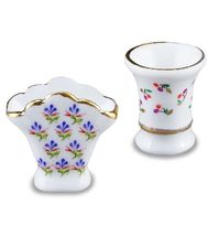 DOLLHOUSE Pair Flower Vase Set 1.616/5 Reutter Porcelain Miniature - $12.80