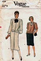 Vintage 1980's Misses' TOP & SKIRT Vogue Pattern 8799-v Size 8 UNCUT - $14.00