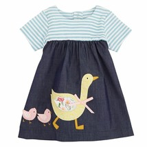 NWT Mud Pie Goose Applique Baby Girls Blue Short Sleeve Chambray Dress E... - $16.99