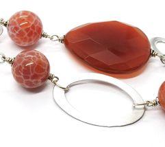 925 Silber Halskette, Karneol Rot Tropf, Achat Gescheckt, Ovale Anhänger image 6
