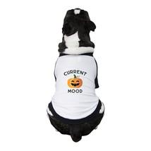 Pumpkin Current Mood Pets Black And White Baseball Shirt - $15.99