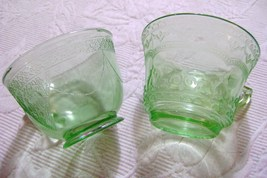 "Green Depression Glass Georgian ""Lovebirds"" & Patrician Cups - $12.00"