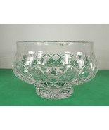 "Waterford Crystal 7"" Signed Footed Round Bowl 3512106000 Cut Criss Cross - $59.35"