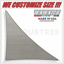 ColourTree 16' x 16' x 22.6' Right Triangle Grey Sun Shade Sail Canopy Awning Su