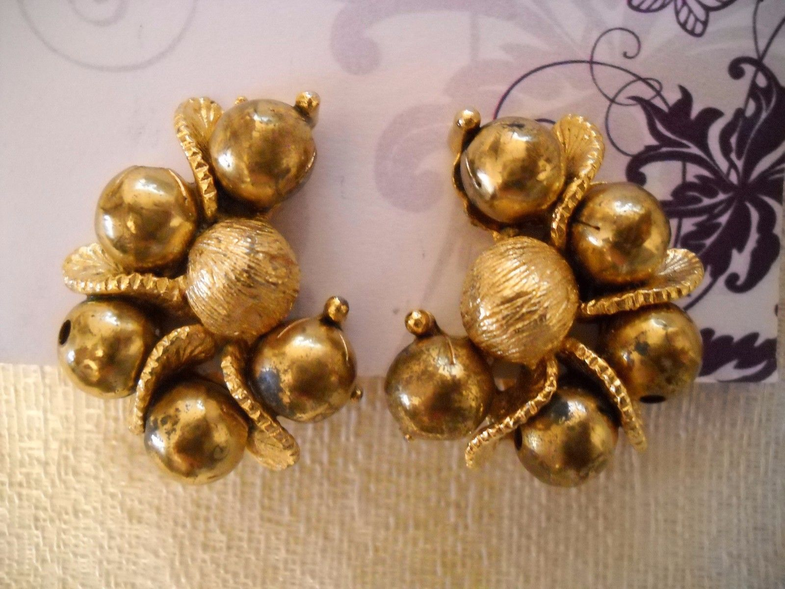 Primary image for VINTAGE MULTIPLE CLUSTER BALL CURVED GOLD TONE METAL HUGGIE POST EARRINGS