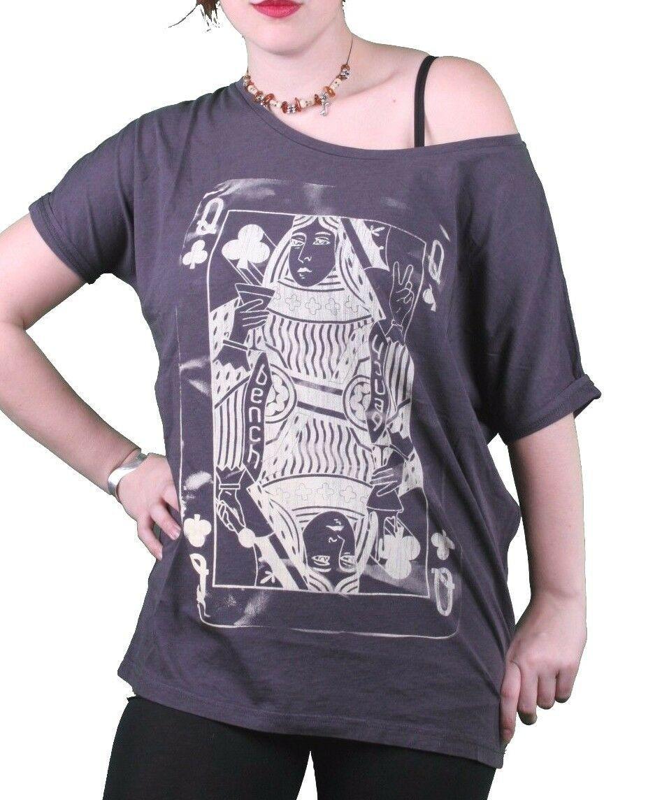 Bench UK Donna Navy Queeny Trifoglio Carte da Gioco Girocollo T-Shirt BLGA2363