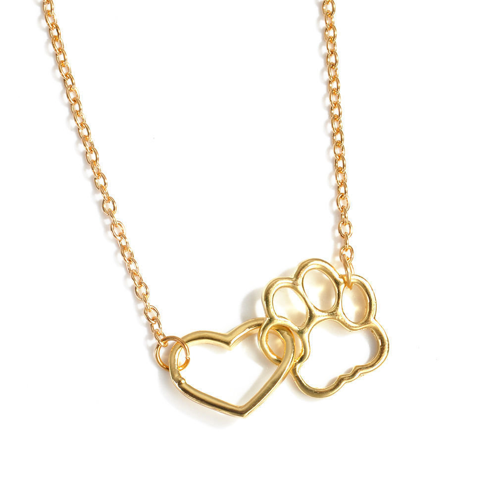 USA Women Fashion Pet Lover Dog Cat Paw Print Pendant Heart Necklace Chain Gift image 9