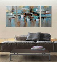 "ARTLAND Hand-painted ""Abstract Tone"" Oil Painting on Canvas Gallery-wrap... - $88.10"