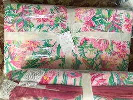 Pottery Barn Lilly of the Jungle Quilt Set Pink King 2 King Shams Lily Pulitzer - $354.00