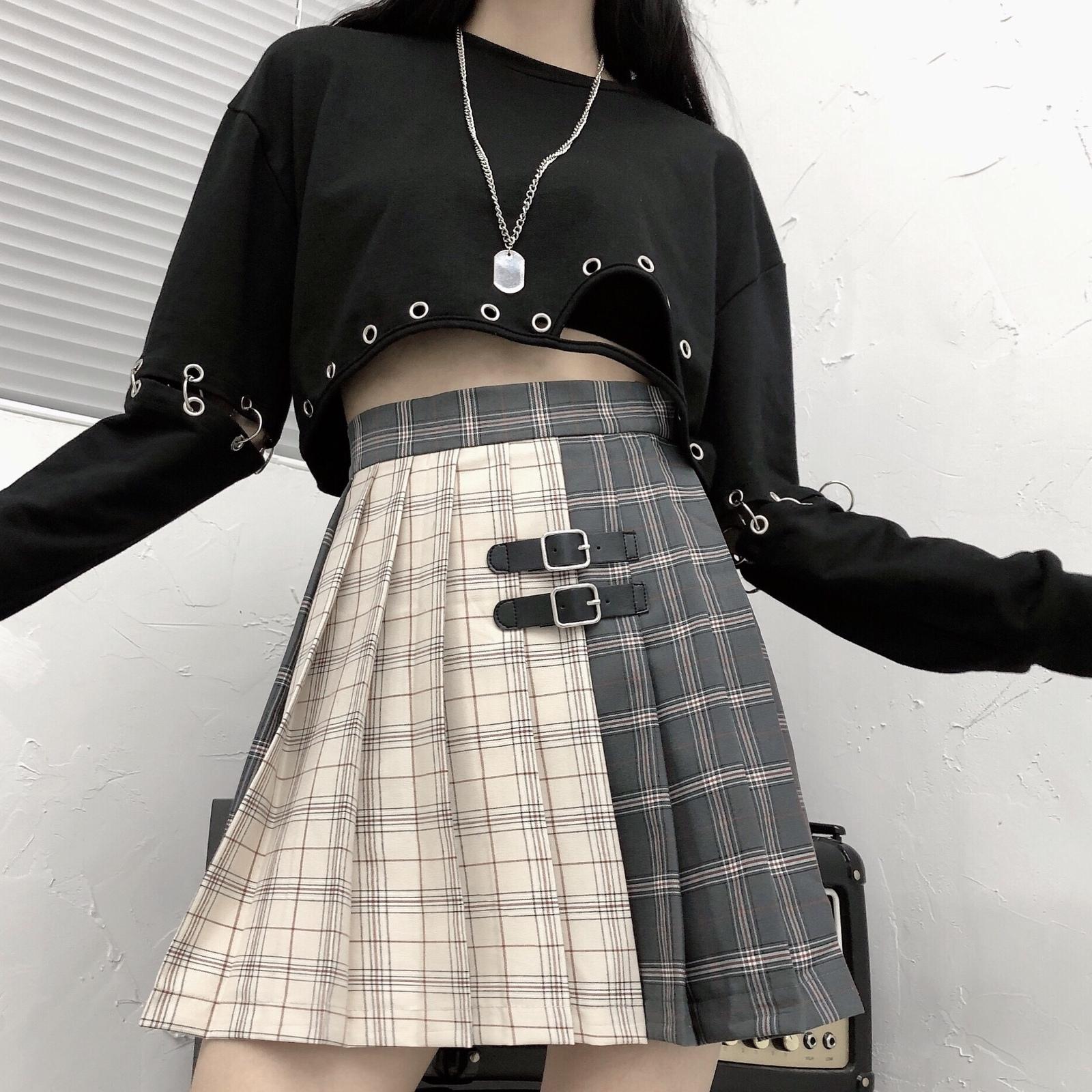 Black Navy Red Mini Plaid Skirt Women Street Style Pleated PLAID SKIRT Plus Size image 5