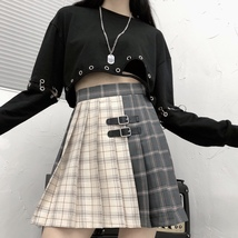 Black Navy Red Mini Plaid Skirt Women Street Style Pleated PLAID SKIRT Plus Size image 5