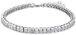EleQueen 925 Sterling Silver CZ Square Shape Tennis Bracelet, 7.3'+1.4' ... - $113.97