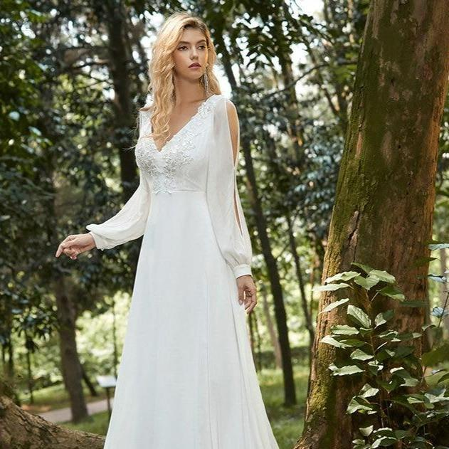 Ite dress elegant v neck long sleeve appliques lace chiffon de794b1d f81d 4030 b180 104e0985fce9