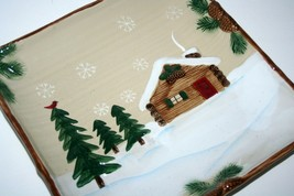 St. Nicholas Square Heartland Platter Tray, Winter Cabin Pinecombs Trees... - $62.32