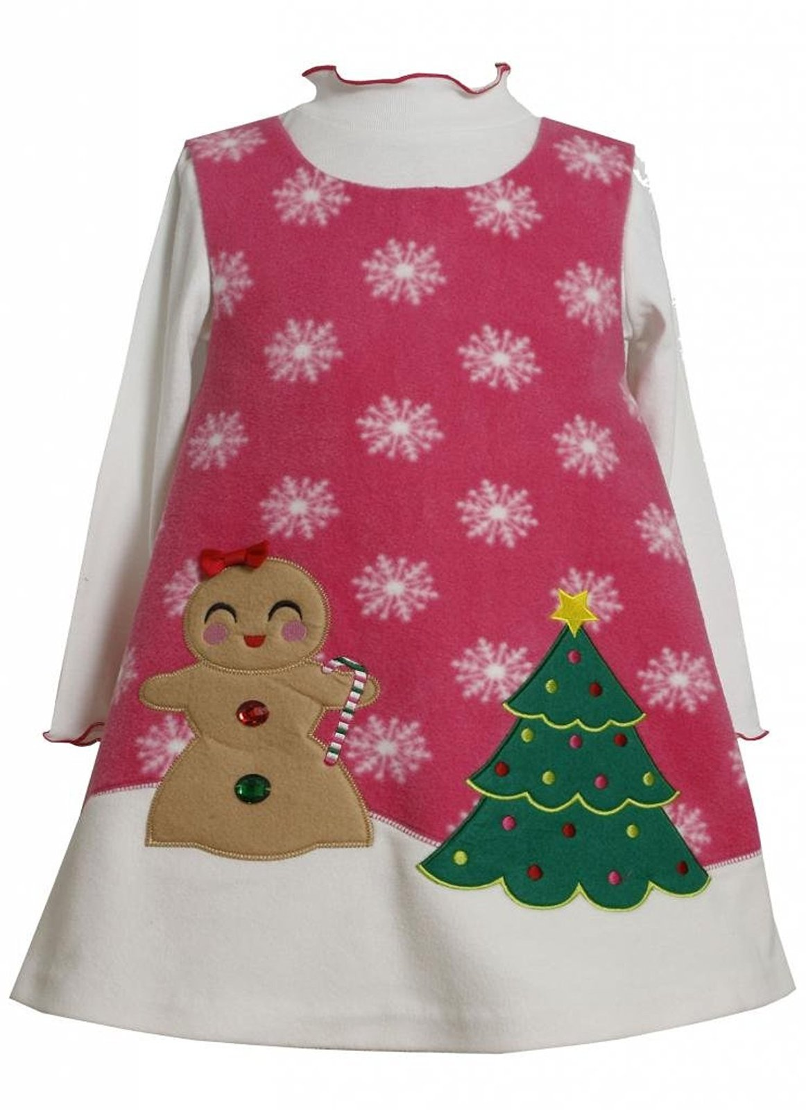 Bonnie Jean Baby Girl 3M-9M Gingerbread Girl Christmas Tree Fleece Jumper Dress