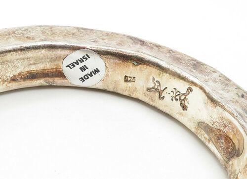 BAT-AMI ISRAEL 925 Silver - Vintage Hollow Hammered Bangle Bracelet - B6276 image 4