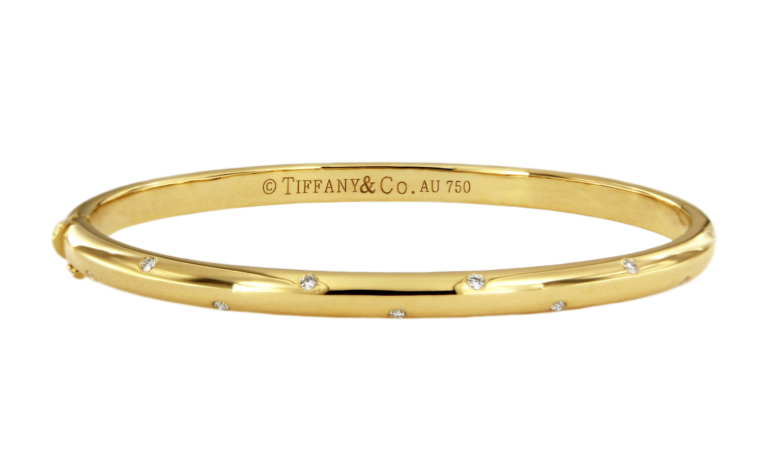 Tiffany&Co.18k Yellow Gold Diamond Etoile Bangle Bracelet_Medium size  - $2,850.00