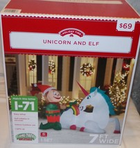 Unicorn and Elf Christmas Holiday Time Inflatable 7 ft New NIB Yard Deco... - €43,77 EUR