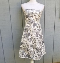 Old Navy 4 Strapless Dress Gray White Floral Fit and Flare - $12.00