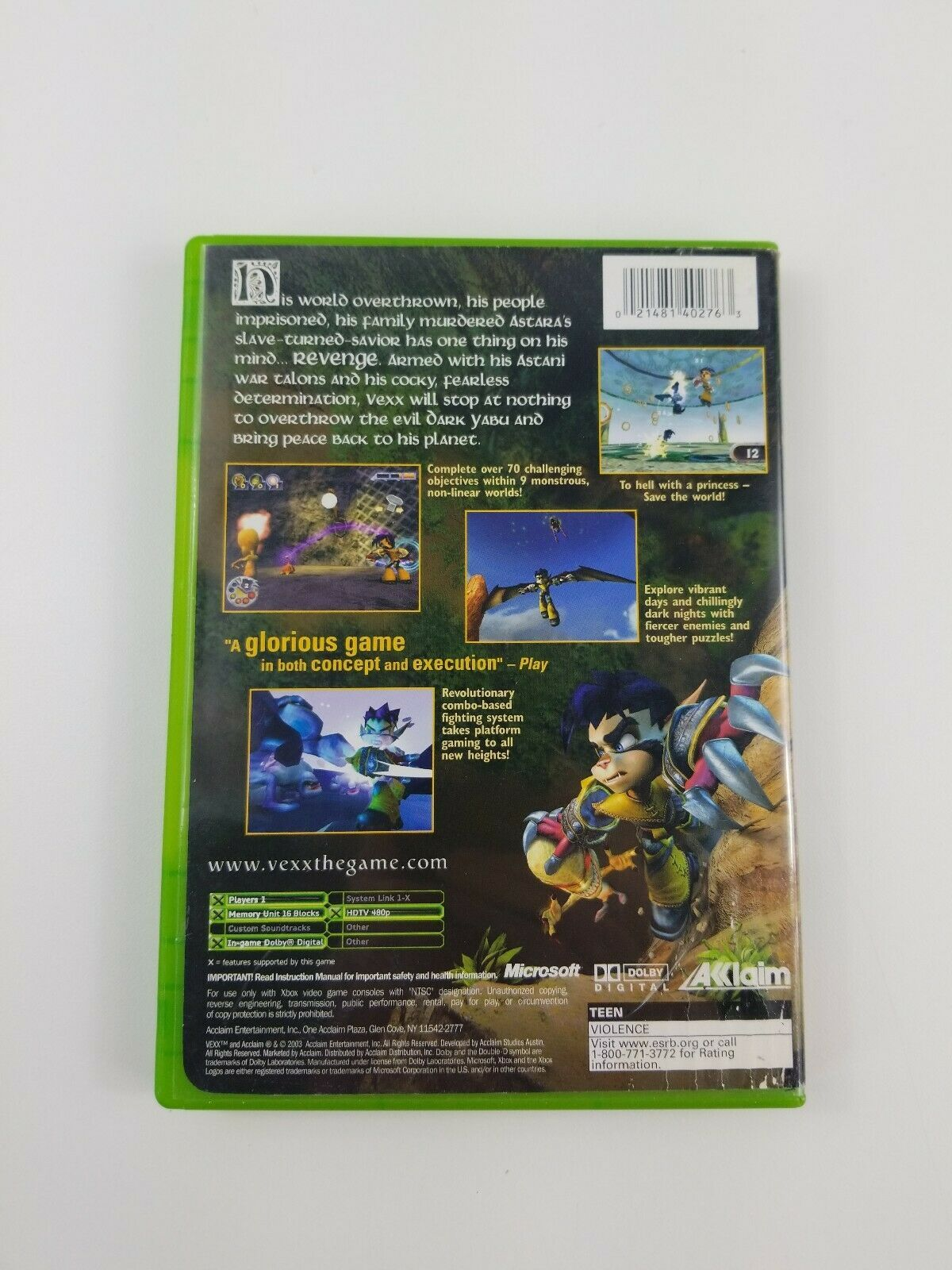 Vexx - Microsoft Xbox, 2003 - Complete CIB - Tested and Working with Manual
