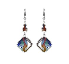 Sterling Silver Enamel Drop/Dangle Earrings made with Swarovski Crystals - $71.06