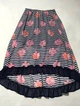 D-Signed Girls L Navy Blue White Stripe Pink Flower Hi Low Skirt Ruffle Hem - $6.99