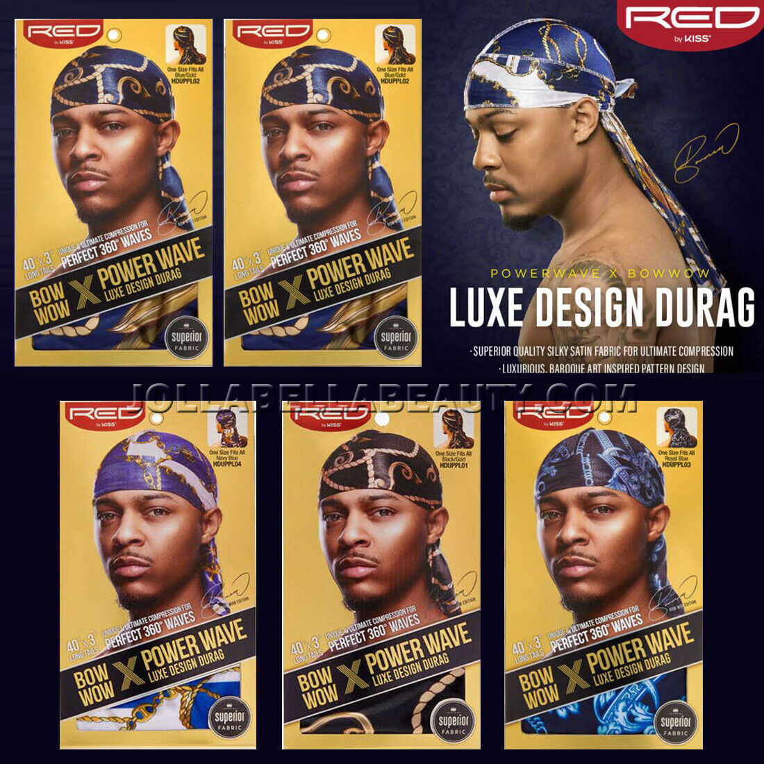 "Primary image for Kiss Bow Wow Power Wave Luxe Design Pattern Men's Durag 40""x3"" Long Tail *1PC"