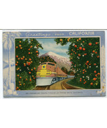 Santa Fe Streamliner Orange Grove Greetings From California 1910c postcard - $6.44