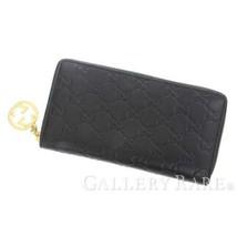 c9412931e1e1 GUCCI Guccissima Black Zip Round Long Wallet 409342 Italy Authentic 5335862  - $493.33