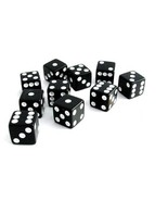 Set of 10 Six Sided D6 12mm Standard Square Edged Dice Die Black With Wh... - $6.99