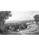 FRANCE Paris View from Montretout at St. Cloud - 1821 Engraving Print Cp... - $12.60