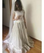 Vintage 60's Bon Marche Wedding Sz 2-4 Dress Lace Zombie Bride Costume - $93.48