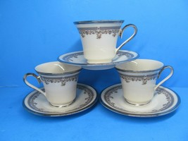 Lenox Lace Point Cups And Saucers Set Of 3 Cups And Saucers Excellent Co... - $38.22