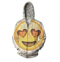 2018 Emoji Zip-Up Hoodie photographic mosaic of the cute emoticons hooded Sweats - $57.94