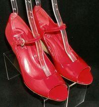 Franco Sarto 'Fashioni' red patent leather peep toe mary jane cork wedges 8M image 7