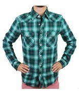 Levi's Men's Classic Western  Button Up Long Sleeve Plaid Green 3Lylw0062 - €29,86 EUR