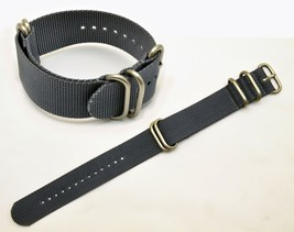 22mm watch band Fits LUMINOX Watches GREY Nylon  4 Rings S/S Buckle Strap - $22.95