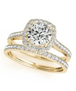 1/2 Ct. Halo Engagement & Wedding Band Set In 14k Solid Rose Gold (1/2ct... - $749.00