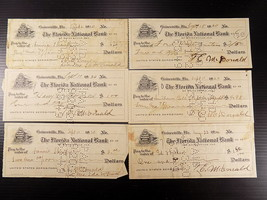 6 ANTIQUE BANK CHECKS 1920 The FLorida National Bank Gainesville FL Set ... - $5.93