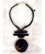Treska Fashion Finds Horn Look Pendant Necklace in Black/Smoky Brown/Gra... - $24.95