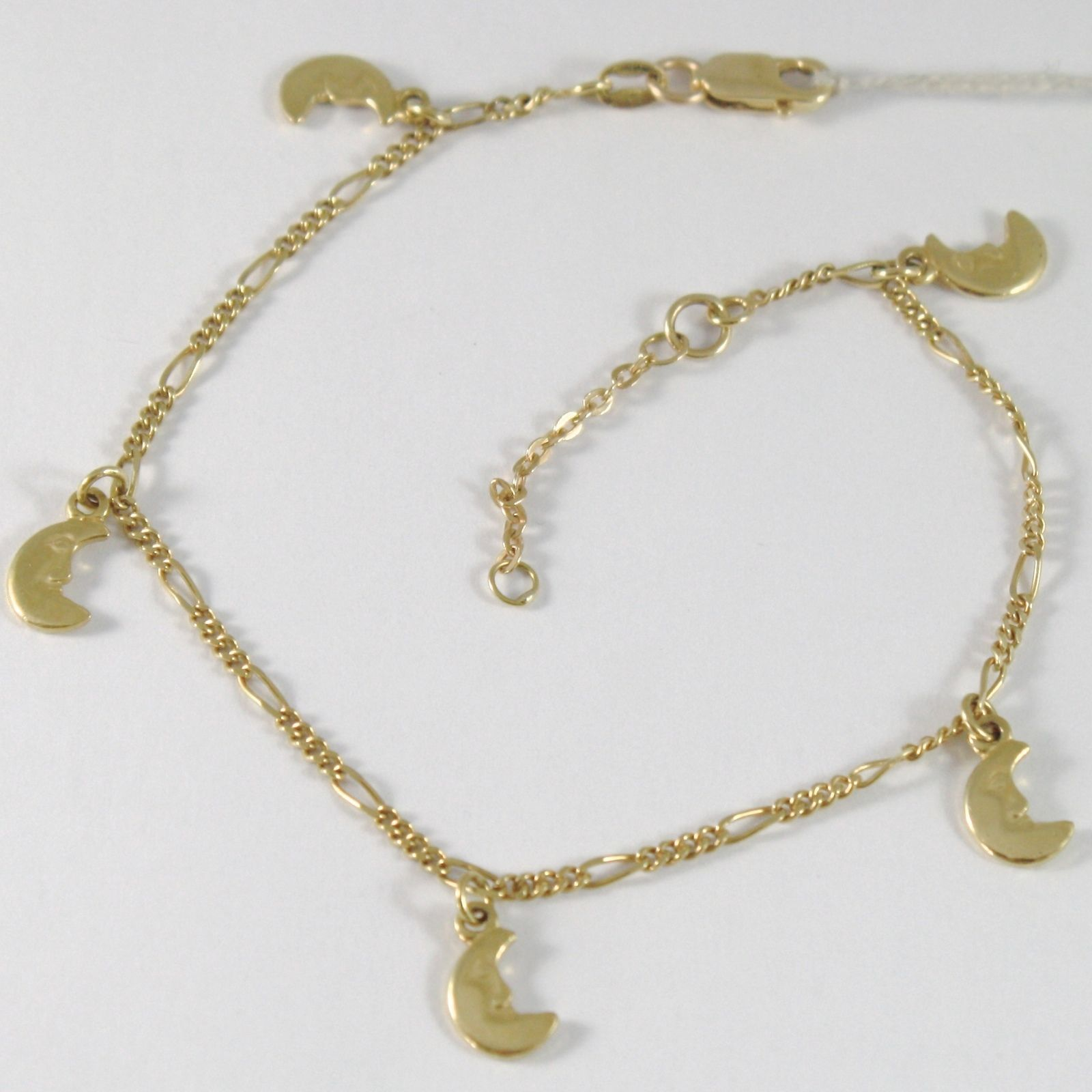 BRACELET YELLOW GOLD 750 18K, LUNE HANGING, LUNA PENDANT, LONG 18.5-21 CM