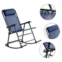 Rocking Chair 250 lb. Capacity Pillow Headrest Textilene Fabric Seat Fol... - $71.94