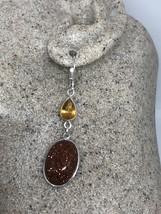 Vintage Filigree Antique Gold Sandstone 925 Sterling Silver Earrings - $51.48